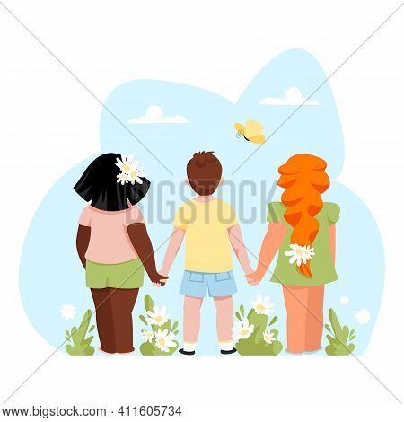 Children. Vector Image Of Children Standing Back. Children Hold Hands