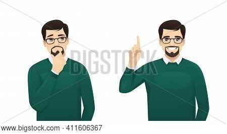Handsome Business Man In Casual Clothes Thinking Looking Away And Making Idea Pointing Up Isolated O