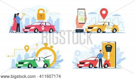 Carsharing Service. Cars Rental And Exchange Smartphone Applications Collection, City Taxi Tag, Peop