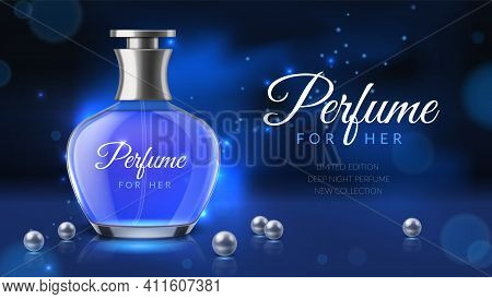 Realistic Perfume. Women Fragrance Toilet Water Advertisement, Luxurious Cosmetics Bottle Ad Poster