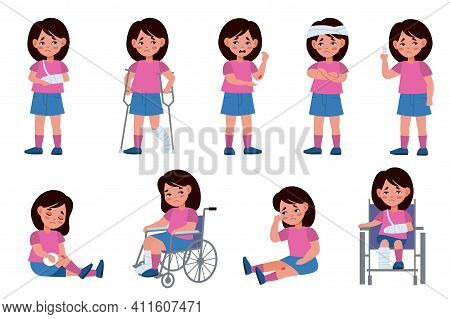 Girl With Injury. Child Character With Wounds, Traumatized Kid, Scratching Fractures And Wheelchair,