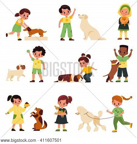 Kids With Dogs. Children With Different Dog Breeds Poodle And Labrador, Pug And Dachshund, Little Pe