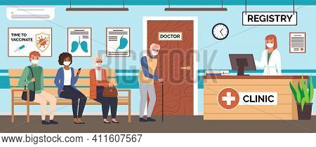 Doctor Office Queue. Patients Waiting Their Turn For Vaccination Or Consultation, Hospital Corridor