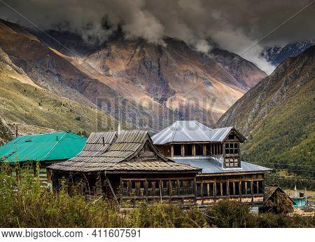 Chitkul Village Houses, Beautiful Chitkul Village In Kinnaur Himachal Pradess.