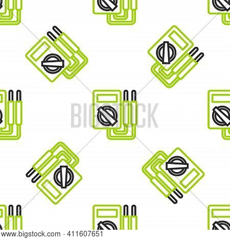 Line Ampere Meter, Multimeter, Voltmeter Icon Isolated Seamless Pattern On White Background. Instrum