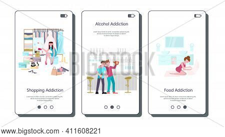Set Of Vector Touch Screen For Unhealthy Addiction Lifestyle, Alcoholism, Nicotine Addiction, Game A