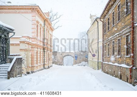 Snowy Street In The Historical Center Of Cesis, Latvia. Selective Focus