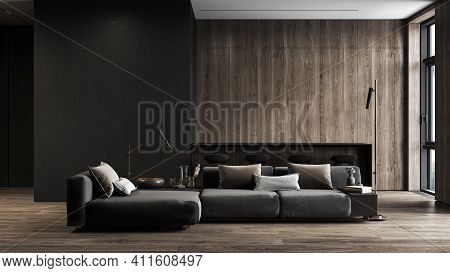 Modern, Black Minimalist Interior With Kitchen, Sofa, Wood Floor, Wall Panels And Marble Kitchen Isl