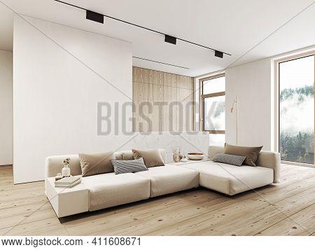 Modern, White Minimalist Interior With Kitchen, Sofa, Wood Floor, Wall Panels And Marble Kitchen Isl