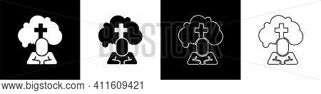 Set Man Graves Funeral Sorrow Icon Isolated On Black And White Background. The Emotion Of Grief, Sad