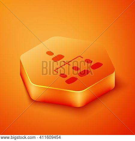 Isometric Business Hierarchy Organogram Chart Infographics Icon Isolated On Orange Background. Corpo