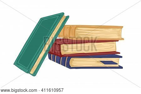 Stack Of Ancient Academic Books Isolated On White Background. Pile Of Old Textbooks, Encyclopedias A