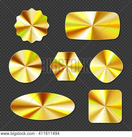 Gold Holographic Stickers, Hologram Labels Different Shapes. Round, Square, Oval, Rhombus, Hexagon A