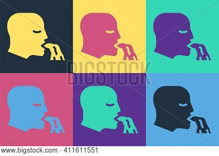 Pop Art Vomiting Man Icon Isolated On Color Background. Symptom Of Disease, Problem With Health. Nau