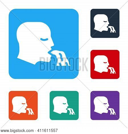 White Vomiting Man Icon Isolated On White Background. Symptom Of Disease, Problem With Health. Nause