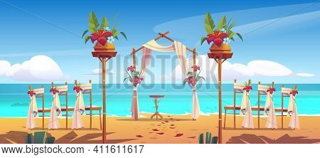 Beach Wedding Arch And Decoration On Seaside. Floral Archway And Chairs Stand On Ocean Sandy Shore W