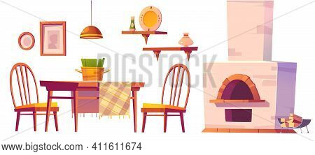 Cozy Cafe Or Pizzeria Interior With Oven, Wooden Table And Chairs, Shelves And Lamp. Vector Cartoon