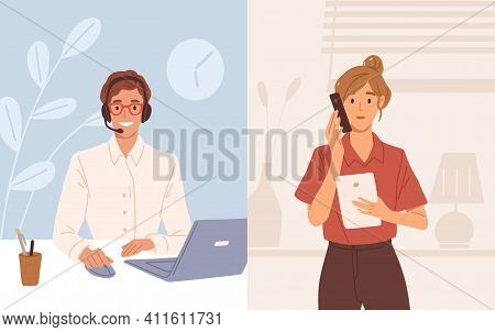 Woman With Phone Calling To Customer Support Service. Operator Of Online Consulting Center During Co