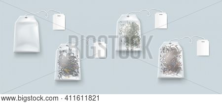 Tea Bags, Isolated Teabags With Blank Labels On Rope Mockup, Green, Red, Black Dry Herbs In Package,