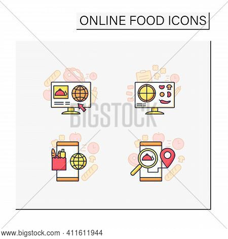 Online Food Color Icons Set. Dark Store, Pizza Constructor Online, Food Map, Shopping. Shopping Appl