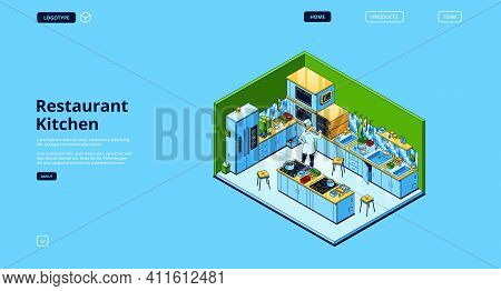 Restaurant Kitchen Banner. Modern Furniture And Cooking Appliances For Professional Cook. Vector Lan