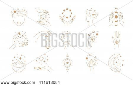 Line Mystic Set. Abstract Decorative Pint Bundle, Magic Fortune Elements With Woman Face. Vector Iso