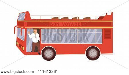 Exterior Of Red Double-decker Tour Bus With Driver. Open Roof City Transport With Two Decks For Sigh