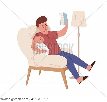 Young Funny Father Sitting In Chair And Reading Book For Newborn Baby. Dad With Sleeping Infant. Col