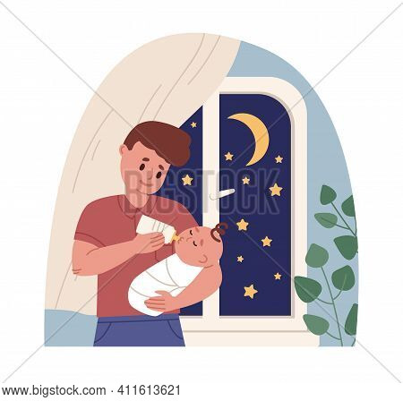 Father Holding Newborn Baby In Arms And Feeding It From Milk Bottle. Dad Caring About Infant. Colore