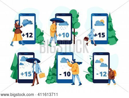 Weather Forecast App On Screens Set. Tiny People In Suitable Clothing Watching Online Weather Foreca