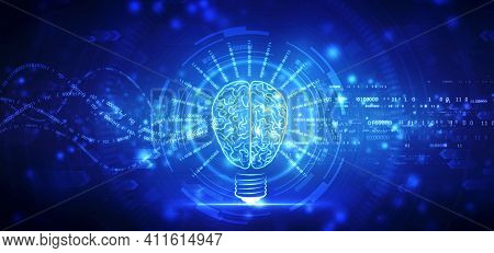 Bulb Illustration On Technology Background, Future Technology, Innovation Background, Creative Brain