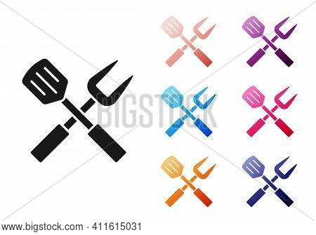 Paper Cut Crossed Fork And Spatula Icon Isolated On Grey Background. Bbq Fork And Spatula Sign. Barb