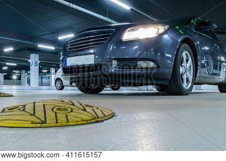 Parking Lot Cars. Car Lot Parking Space In Underground City Garage. Empty Road Asphalt Background. I