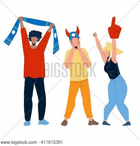 Sports Fans Cheering And Shouting Together Vector