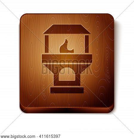 Isometric Brick Stove Icon Isolated On White Background. Brick Fireplace, Masonry Stove, Stone Oven