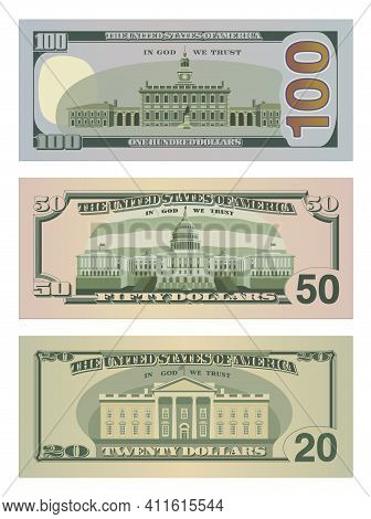 Set Of One Hundred Dollars, Fifty Dollars And Twenty Dollar Bills In New Design. 100, 50 And 20 Us D