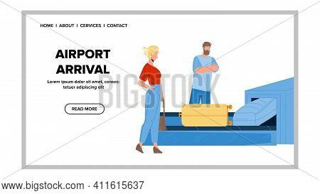 Airport Arrival Passengers Waiting Baggage Vector Illustration