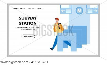 Subway Station Entry System Pass Passenger Vector