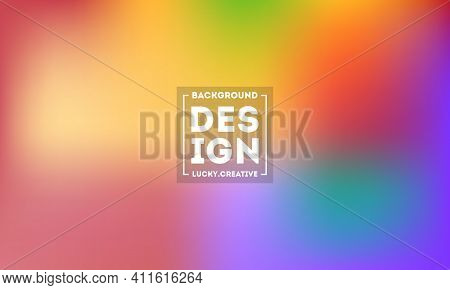 Abstract Blurred Gradient Mesh Background In Bright Modern Rainbow Colors. Colorful Smooth Banner Te
