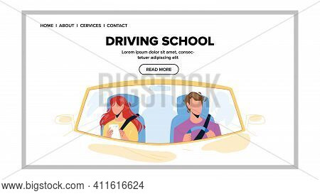 Driving School Test Passing Young Driver Vector