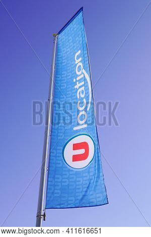 Bordeaux , Aquitaine France - 03 03 2021 : U Location Text Sign And Brand Logo On Flag Blue For Rent