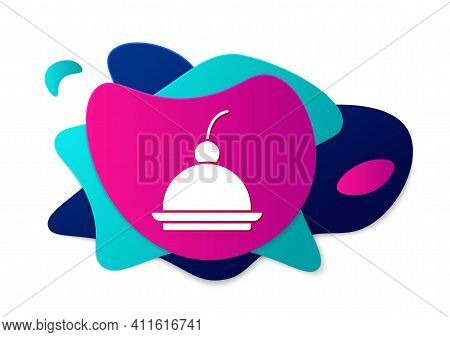 Color Cherry Cheesecake Slice With Fruit Topping Icon Isolated On White Background. Abstract Banner