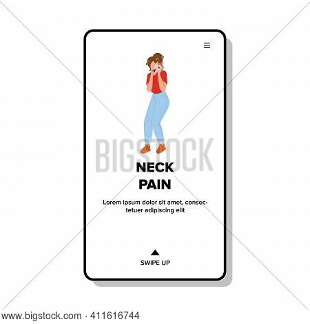 Neck Pain Suffering Sadness Young Woman Vector