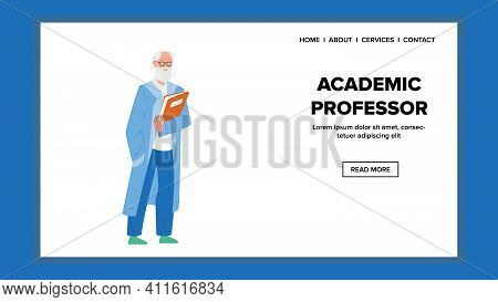 Academic Professor Holding Book For Lecture Vector