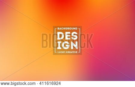 Abstract Blurred Gradient Mesh Background In Bright Modern Orange Peach Colors. Colorful Smooth Bann