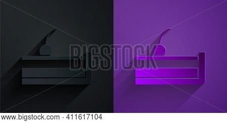 Paper Cut Cherry Cheesecake Slice With Fruit Topping Icon Isolated On Black On Purple Background. Pa
