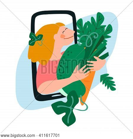 Fresh Vegetables Delivery Concept. Buy Online Concept. Friendly Woman Passing Giant Carrot, Cucumber