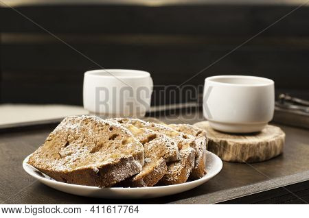 Two White Cups Of Coffee On A Wooden Table Tray. Breakfast In Bed