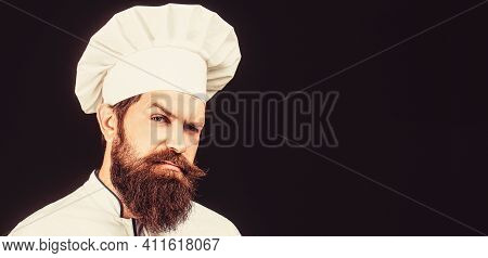 Cook Hat. Confident Bearded Male Chef In White Uniform. Serious Cook In White Uniform, Chef Hat. Por