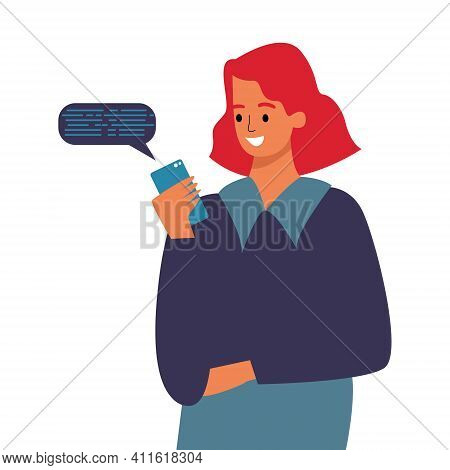 A Girl With A Phone In Her Hands. Correspondence In The Phone, A Message To The Phone.
